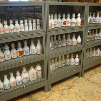 What does a collector do when he runs out of shelf space............. - Bottles