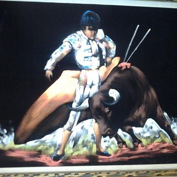 Bull Fight on Black Velvet - Fine Art