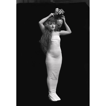 Woman Holding Vase - a contemporary print from an original glass plate negative - Fine Art