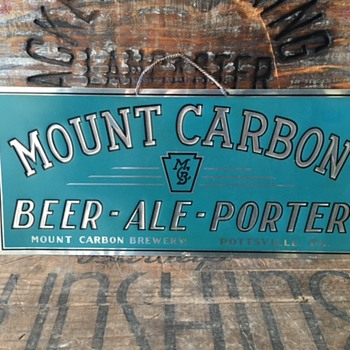 Mount Carbon Beer Tin Sign - Breweriana