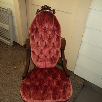 Childrens Wood carved rocking chair with red velvet seating