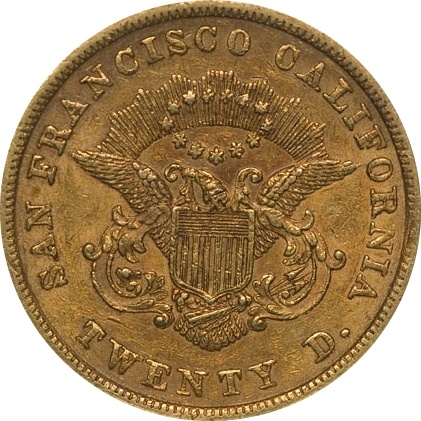 How much is a 1854 gold twenty coin with the word copy on ...