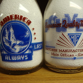 2 --Thatcher Souvenir Milk Bottles With War Slogans........ - Bottles