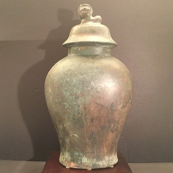 Old Chinese Meiping  Bronze Vase with Foo Dog Lid. What century is it.