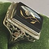 Antique 18KT White Gold Carnelian Diamond Ring