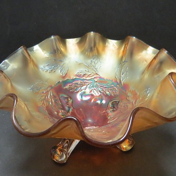 Dugan Carnival Glass Ruffled Footed Bowl - Cherries Pattern - Glassware