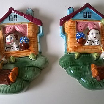 Very Kitschy 1950s Wall Plaques, Thrift Shop Find $3.00 - Pottery