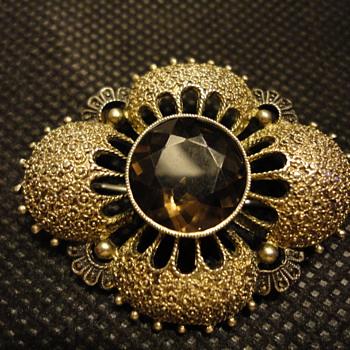 Art Deco 1930s Theodor Fahrner Brooch Silver Gilt Filligree - Fine Jewelry
