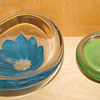 2 Lovely Lindstrand for Kosta Bowls Blue one 1956 and green 1958/9