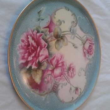 Haviland Charger Hand Painted Roses, Raised silver dots and gold trim? - China and Dinnerware