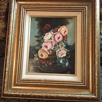 Old Floral Oil on Board - Fine Art