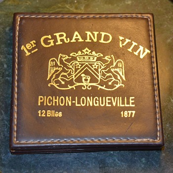 Set of Leather Coasters Commemorating Vineyards  - Advertising