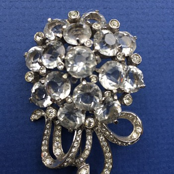 Vintage Crystal & Rhinestone Brooch Possibly Unsigned Pennino - Costume Jewelry