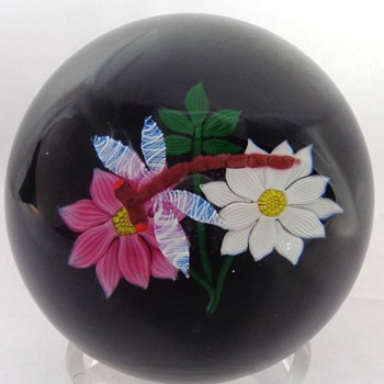 William Mason Caithness Glass Dragonfly & Flowers Paperweight - Art Glass
