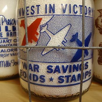 SANITARY DAIRY...WARREN OHIO WAR SLOGAN.....AIRPLANES - Bottles