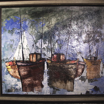 "Jean De Bomainq,French Impressionist, Oil Painting on Canvas""Harbor""Circa 1960-70 - Fine Art"
