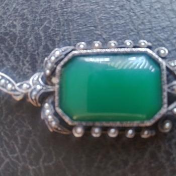 Beautiful faux Jade pendant - Costume Jewelry