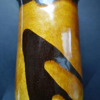 Mystery maker's mark on vase 1 - brown and tan glaze - Pottery