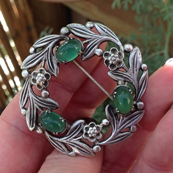 Silver and Chrysophrase Bernard Instone Brooch - Arts and Crafts