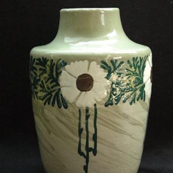 leon elchinger art nouveau vase with with flowers pattern circa 1905