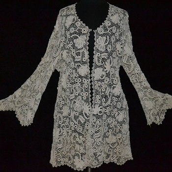 Exquisite Antique Victorian Edwardian Irish Crocheted Lace Jacket - Womens Clothing