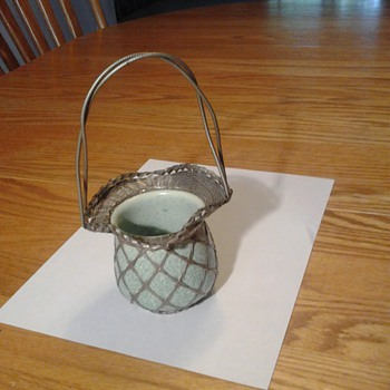 Antique green ceramic bowl in woven wire basket with handle - Pottery