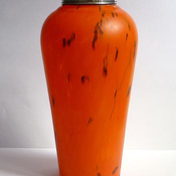 Orange Satin Bohemian Glass Vase with Sterling Collar, Hallmarked for London 1925 - Art Glass