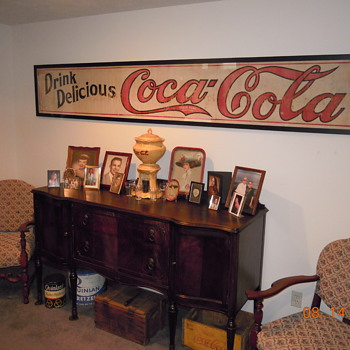 c. 1915 Canvas Coca-Cola Banner - Framed - Coca-Cola