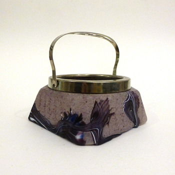 Starburst/marquetry purple lidded bowl - Art Glass