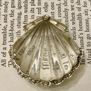 Crown Trifari Lucite Moonshell fur clip brooch - Costume Jewelry
