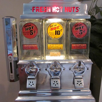 1940's Ajax Fresh Hot Nuts Vending Machine - Coin Operated