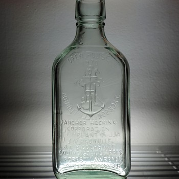 1970 Anchor Hocking Jacksonville Florida  Flask Bottle Embossed Commemorative Vintage Open House - Bottles