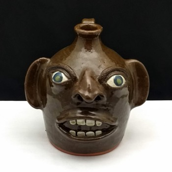 JOE REINHARDT CATAWBA VALLEY NC NORTH CAROLINA FOLK ART SMALL FACE JUG  - Folk Art