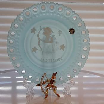 Bogoff archer brooch, Westmoreland Glass Sagittarius plate  - Costume Jewelry