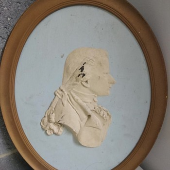 Large carved wood and plaster relief of a gentleman - likely Victorian?