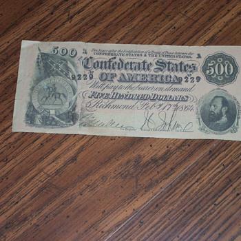 Confederate $500 Note