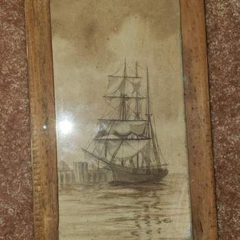Antique ship sketch mystery - Fine Art