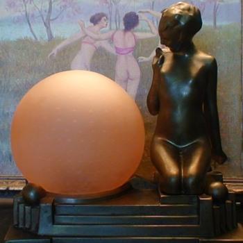 Frankart Art Deco Lamp L-271 Nude Gazes Into Glass Globe