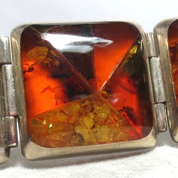 Mexican? Sterling Silver Amber Mosaic Bracelet - Fine Jewelry