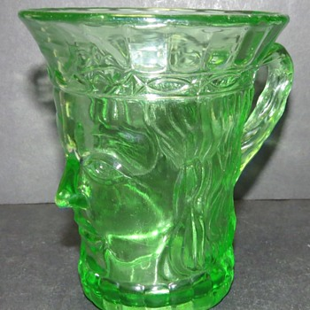 Uranium Glass Kings Head Mug - Czech Glass? - Glassware