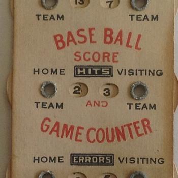 BASEBALL PAPER SCORE KEEPER - Baseball
