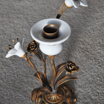 Candle holder. Single prone with flower decor. Antique, Vintage, or how old?  - Lamps