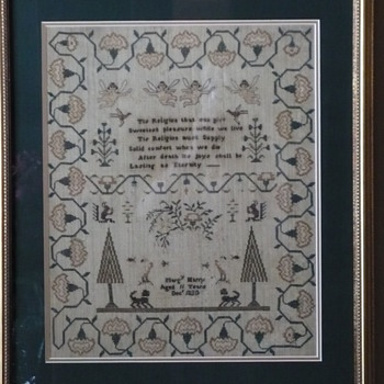 Religious phrase makes this sampler so endearing.  1830 an 11 year old from Sennen, Cornwall, England. I have pedigree info. - Folk Art