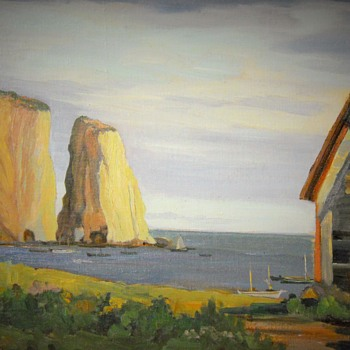 "Percé Rock-South side of Gulf Saint-Laurent, ""Roy Greenaway"", Acrylique on Board, Circa 1950-60 - Fine Art"