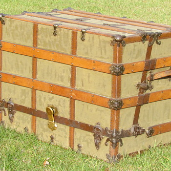 """Early 20th Century 36"""" Canvas Wall/Dresser Trunk - Furniture"""