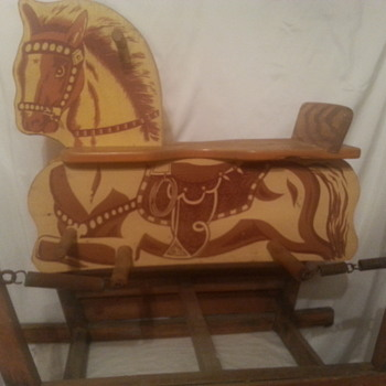 kids wooden spring horse