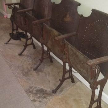 Antique Folding Cast Iron CHURCH Chairs Wood row of 4 Vintage - Furniture