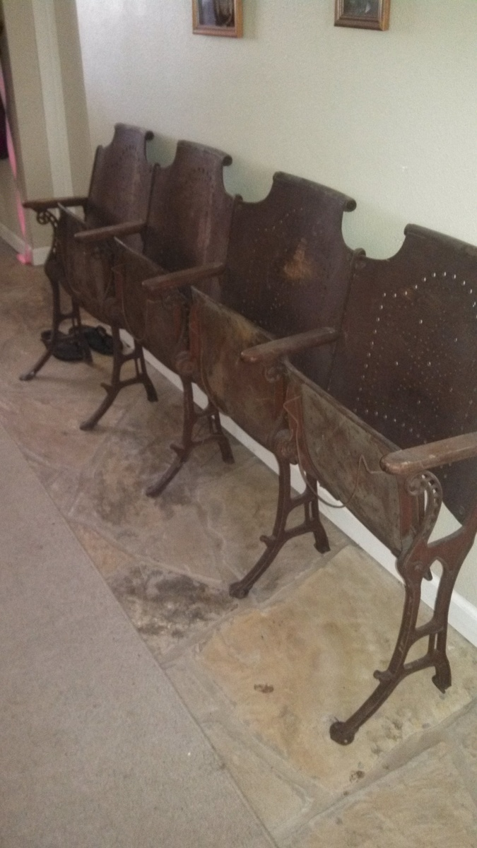 Antique Folding Cast Iron CHURCH Chairs Wood Row Of 4 Vintage | Collectors  Weekly