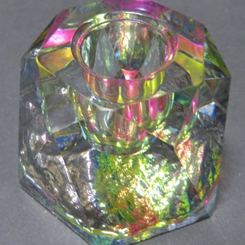 Pretty Crystal Candle Holder with painted Irridescent Base - Glassware