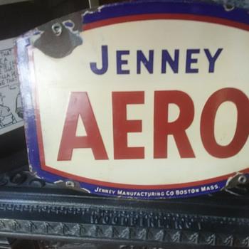 Jenney Areo Super Areo porcelain gas pump signs - Petroliana
